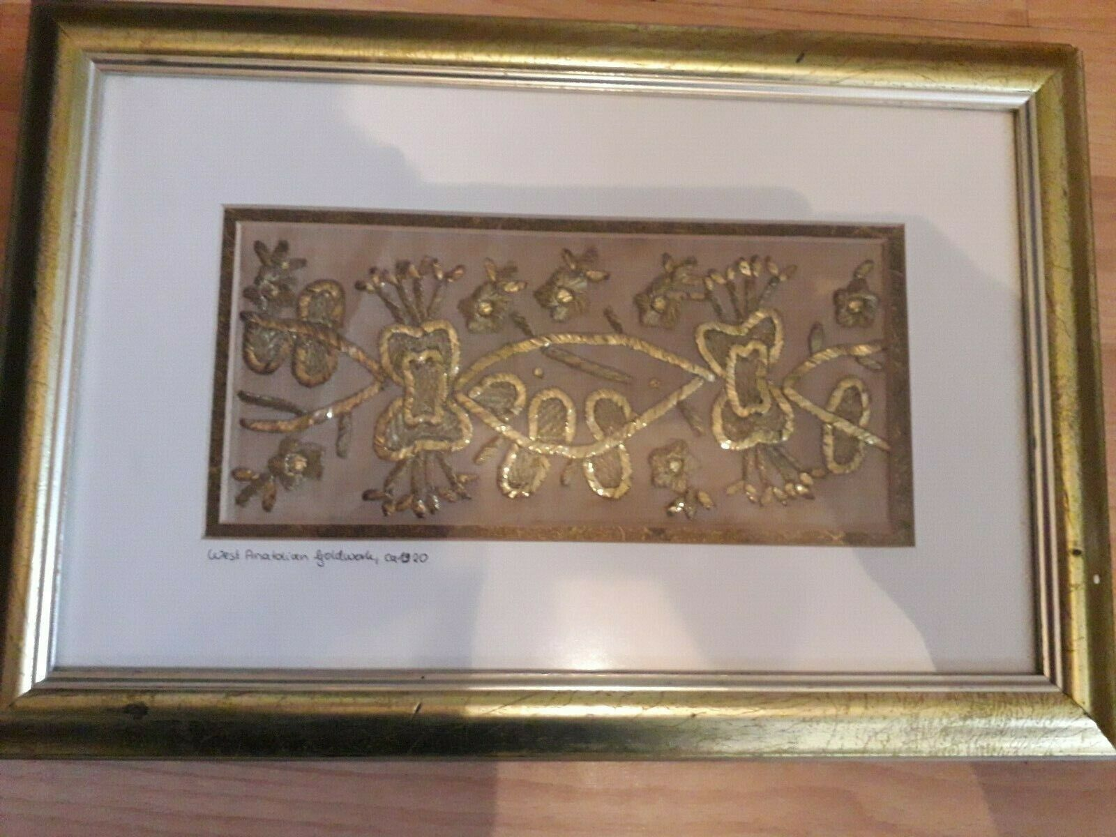 goldwork west Anatolian circa 1920 framed 15 by 10 inches