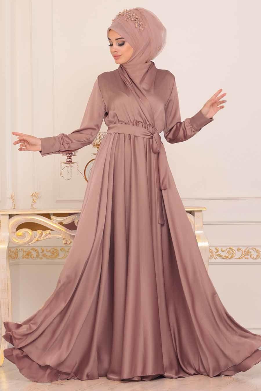 Tesetturlu Abiye Elbise V Yaka Krep Saten Pudra Tesettur Abiye Elbise 1418pd Tesetturisland Com Moda Stilleri Elbise Stil Ilhami