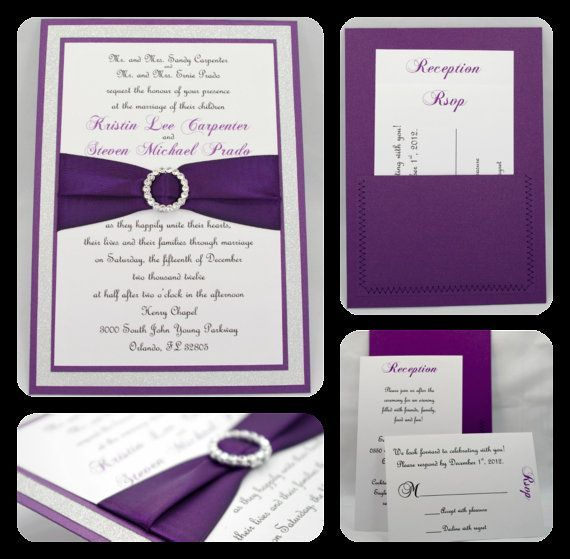 Purple and silver wedding invitations google search