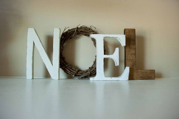 Christmas Decor Noel Letters Mantle Decor Wooden Letters