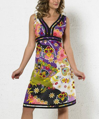 c411fe6f08d2 Look what I found on #zulily! Purple & Black Floral Empire-Waist Dress # zulilyfinds