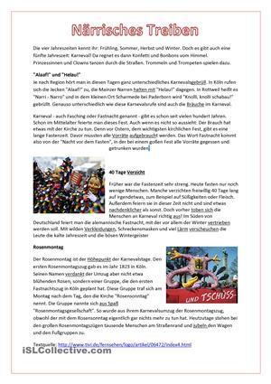 Lesetext zum Karneval mit Aufgaben zum Leseverstehen, Sprechen und ...