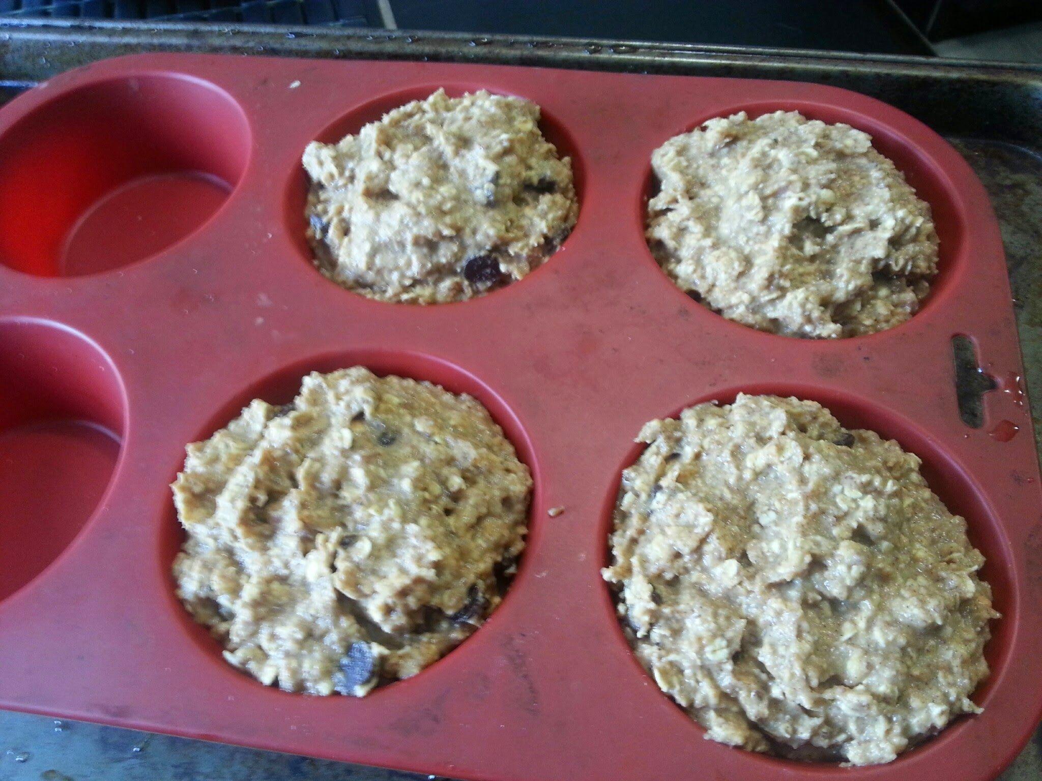 Protein Banana Chocolate Chip Oatmeal Muffins | www.PowerhouseFitFoodie.com