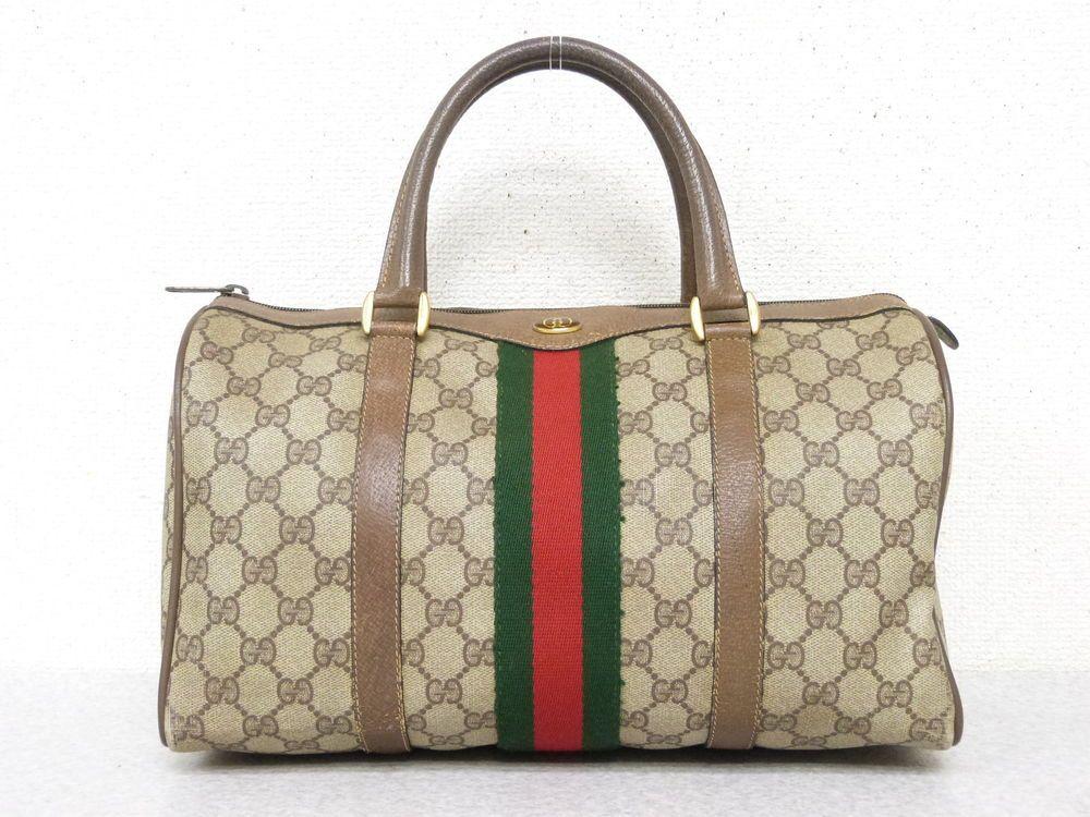 da9055ecb24 r4910 Auth Vintage Gucci Brown GG Supreme Canvas Shelly Line Boston Hand Bag   fashion  clothing  shoes  accessories  womensbagshandbags (ebay link)