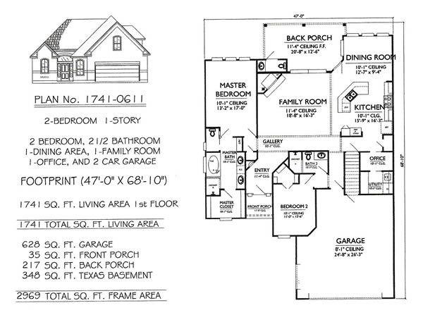 1 Story 2 Bedroom 2 5 Bathroom 1 Dining Room 1 Family Room 1 Office 2 Car Garage 1741 Sq Feet House Garage House Plans Garage Floor Plans Garage Plans