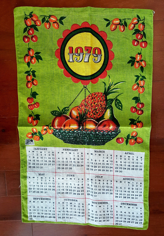 Tea Towel 1979 Calendar Kitchen Towel Dish Towel Gindi