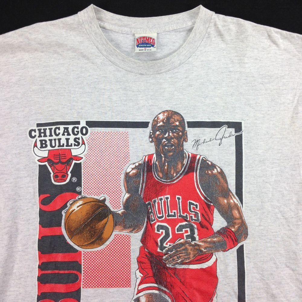 VTG 90s Michael Jordan Chicago BullsT-Shirt sz XL USA Made Huge Print  Nutmeg NBA  MichaelJordan 526e693ef