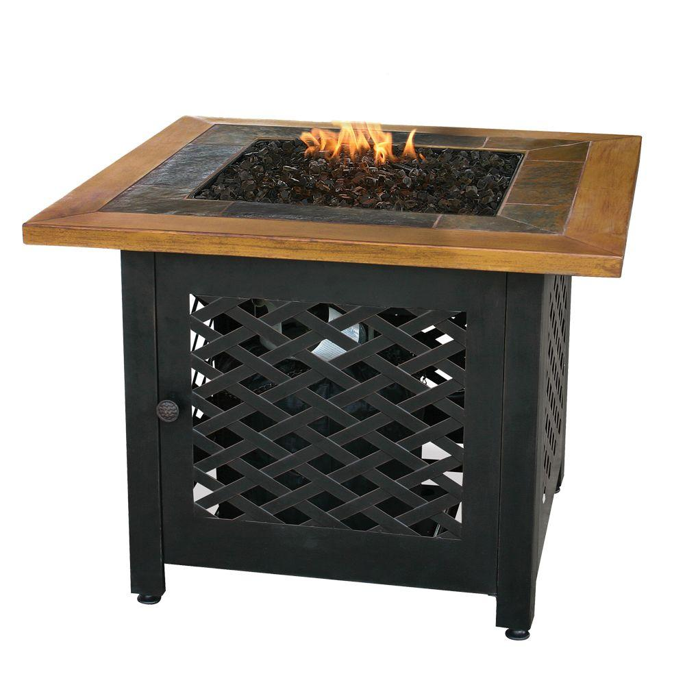 Uniflame 32 In W Square Slate Tile Faux Wood Mantle Lp Gas Fire Pit With Electronic Ignition And Bronze Fire Glass Gad1391sp Gas Fire Pits Outdoor Fire Pit Gas Fire Pit Table