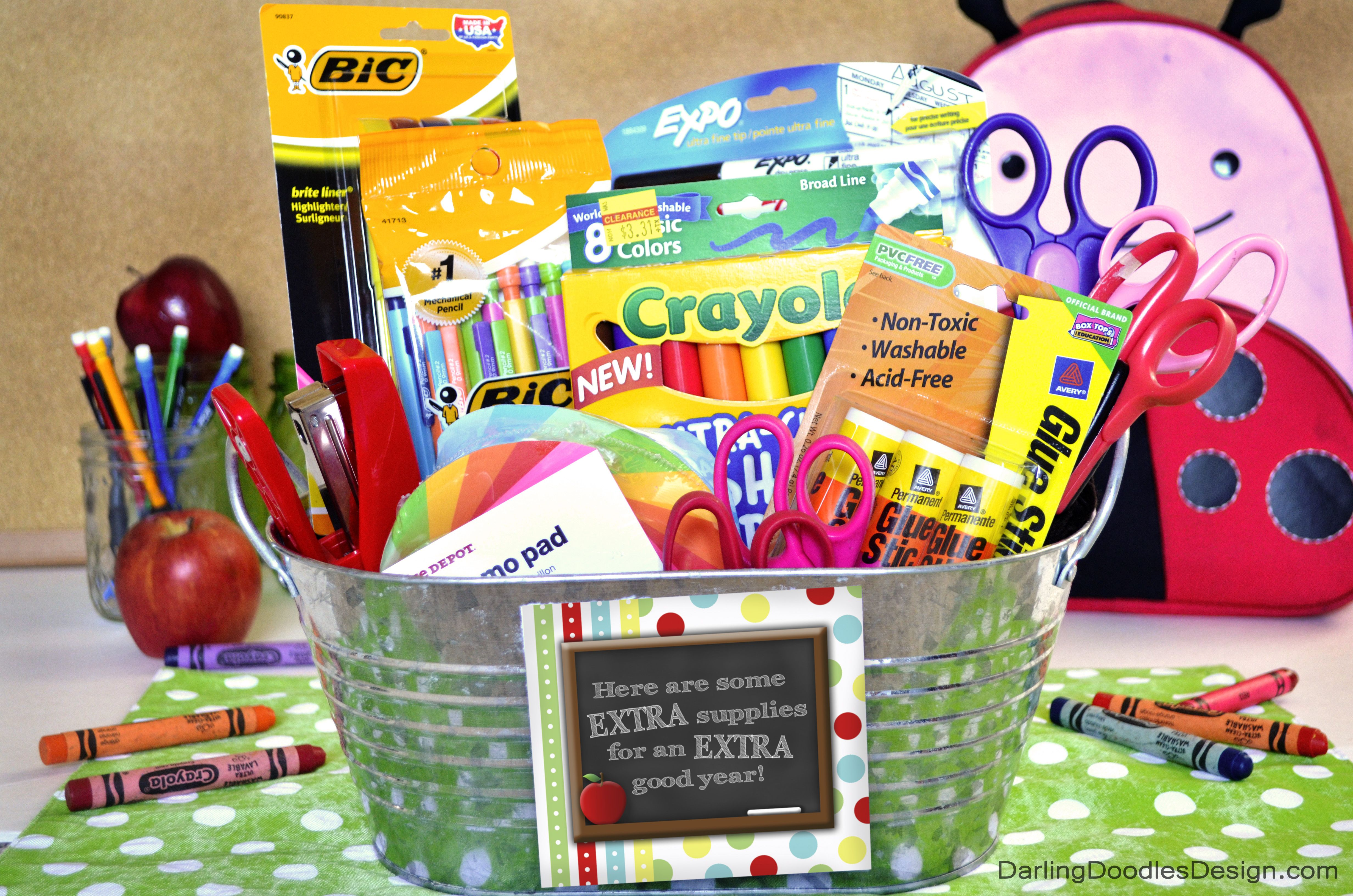 Extra supplies back to school gift basket with free printable tag extra supplies back to school gift basket with free printable tag negle Gallery