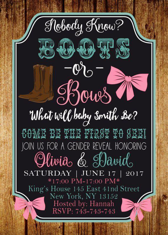 Gender reveal invitation, Boots or bows gender reveal