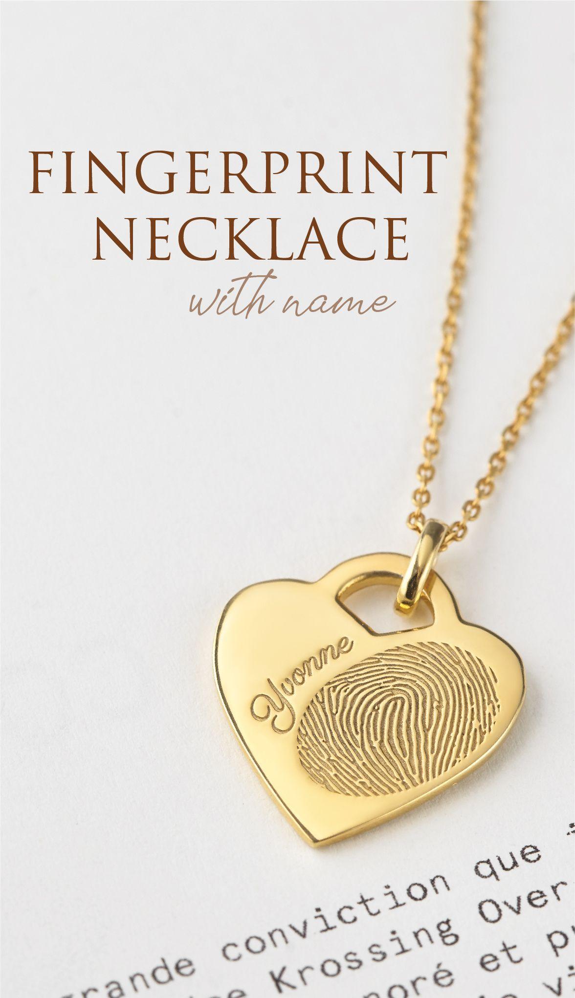 Pendent OR Keyring Gifts for Her Personlised Engraved Fingerprint Jewellery