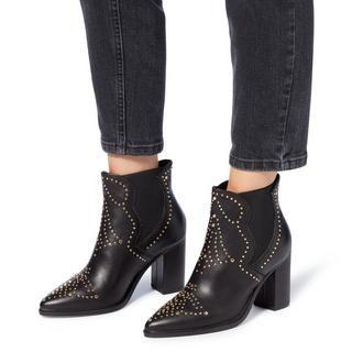 Himmel Leather Studded Heeled Boots - Black Steve Madden With Credit Card Sale Online 9PkUl3br