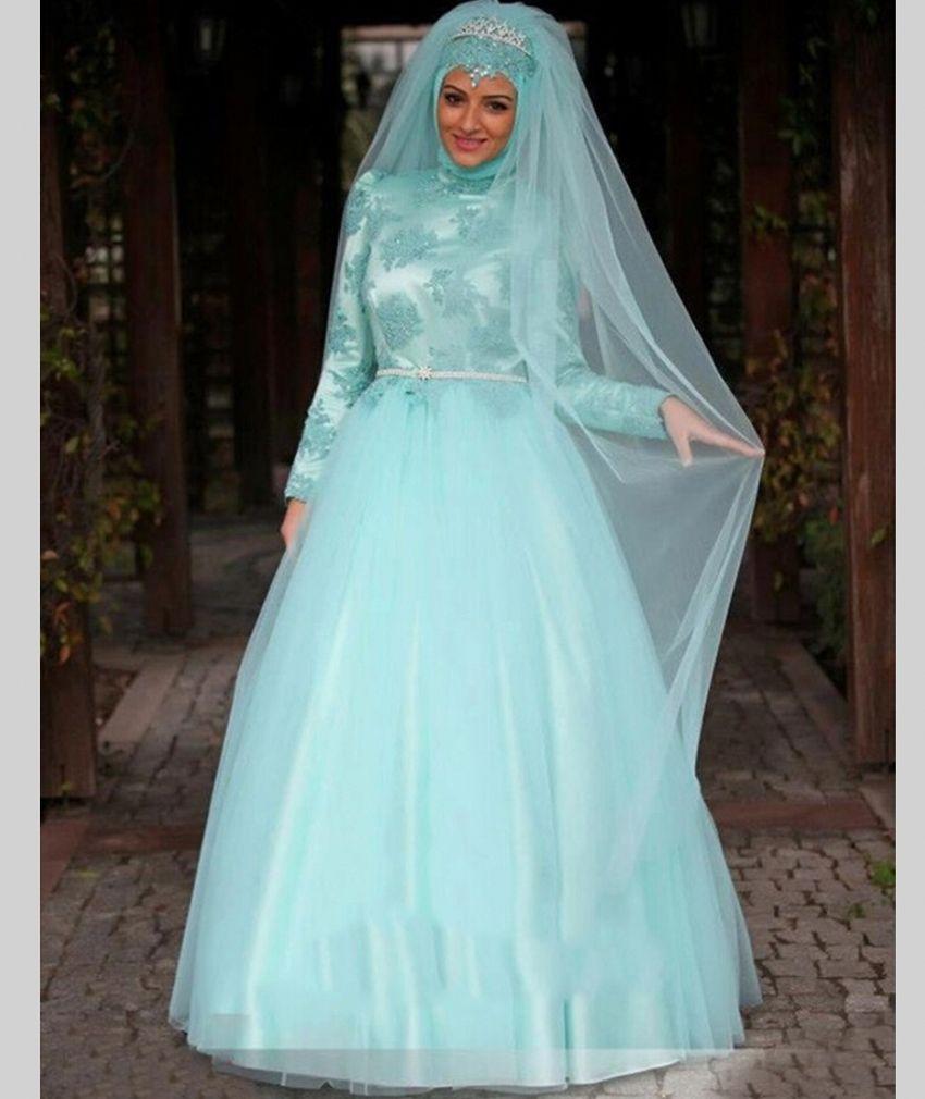 China Arab Long Sleeve Muslim Hijab Islamic Wedding Dress Ball Gown ...