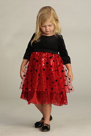 fb0789d2d0d Flower Girl Dress Style DR3001 3002 - RED-BLACK Polka Dot Velvet and Sequin  Dress
