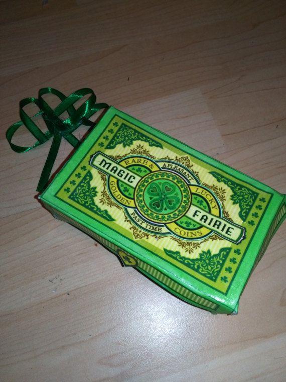 Irish Celtic magic lucky fairy box. Coins from the Irish