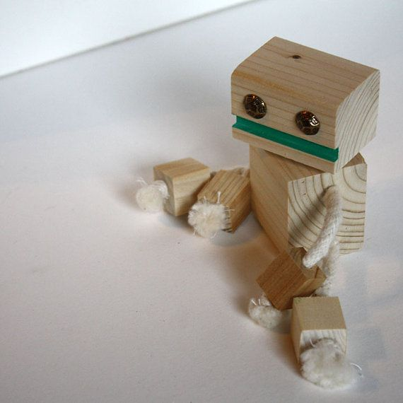 Hooray! Handmade Block Bot wooden toy by WilsonArtFactoy Detroit ...