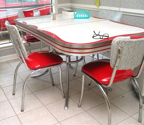 Kitchen Tables And Chairs For Sale: 50's Chrome/formica Dinette Set