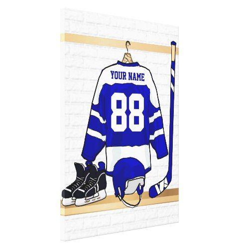 Personalized Blue And White Ice Hockey Jersey Canvas Print Hockey Inspiration Ice Hockey Jersey Ice Hockey