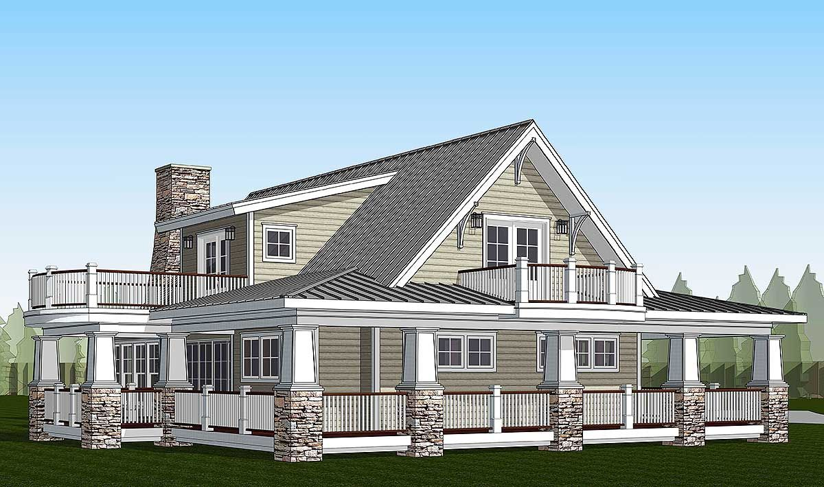 Plan 18286be country home with wraparound porch and 2 for House plans with loft and wrap around porch