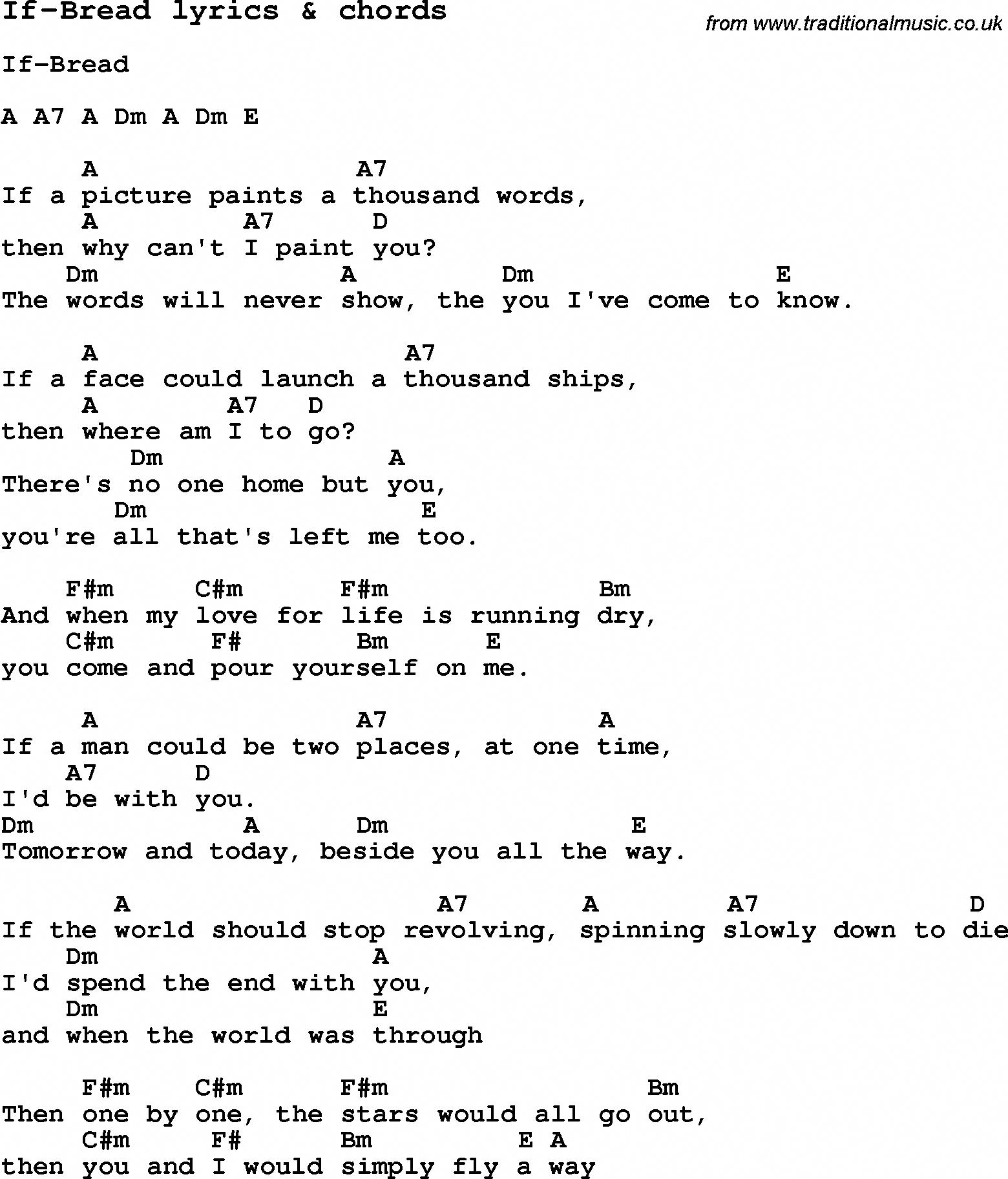 Love Song Lyrics For If Bread With Chords For Ukulele Guitar Banjo Etc Ukuleleforbeginners Guitar Lessons Songs Ukulele Chords Songs Song Lyrics And Chords