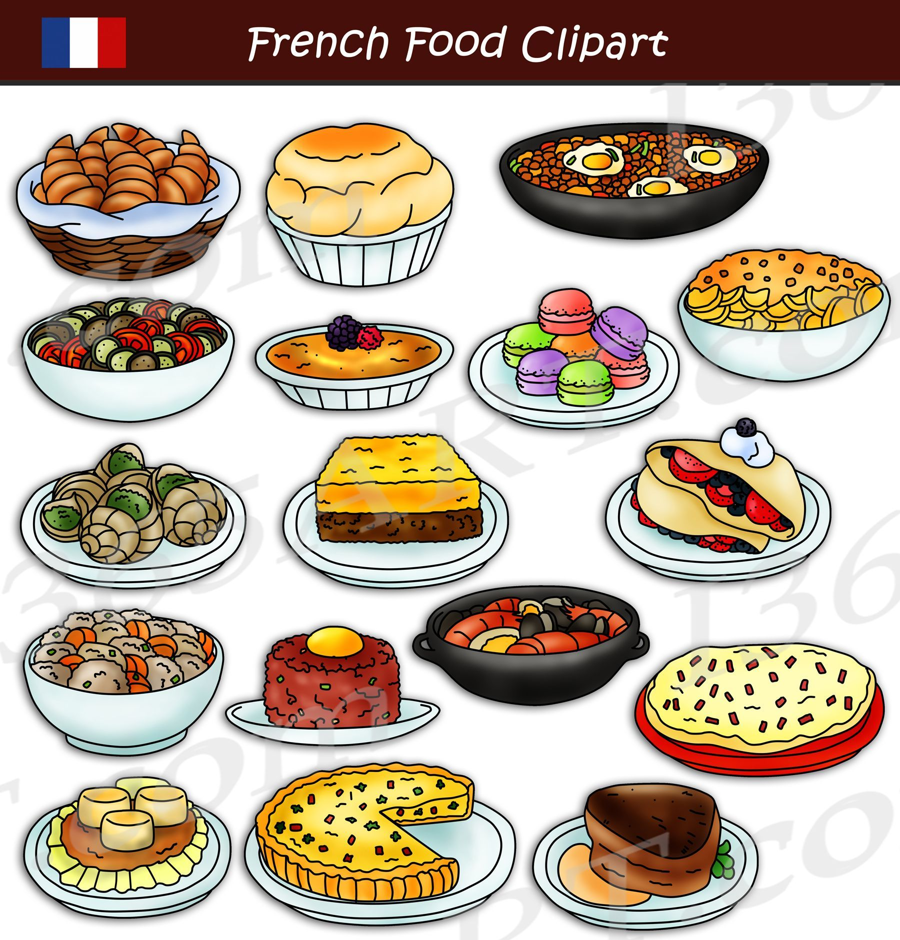 French Food Food Clipart Set Download Graphics By Clipart 4 School Https Clipart4school Com Product French Food Food Cli In 2020 Food Clipart French Food Food