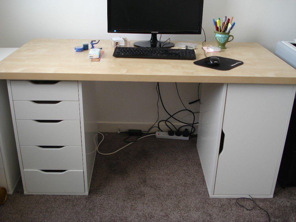 IKEA birch-effect desk top + white Alex drawer and storage units. Storage unit & IKEA birch-effect desk top + white Alex drawer and storage units ...