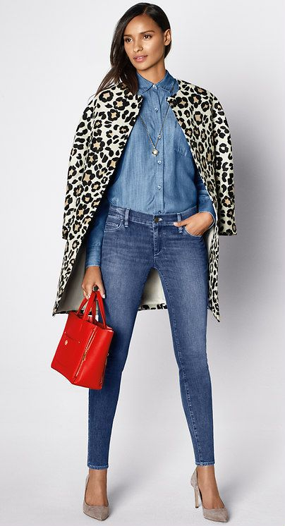bf0268dc10df Must-Have Look: Indulge your wild side and pair a great leopard coat with  head-to-toe denim