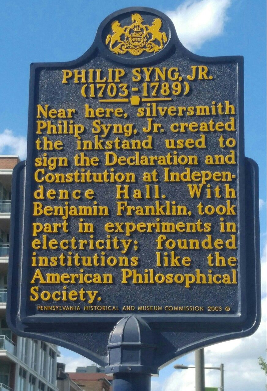 Philip Syng Jr This Marker Is Located At The Corner Of Front And