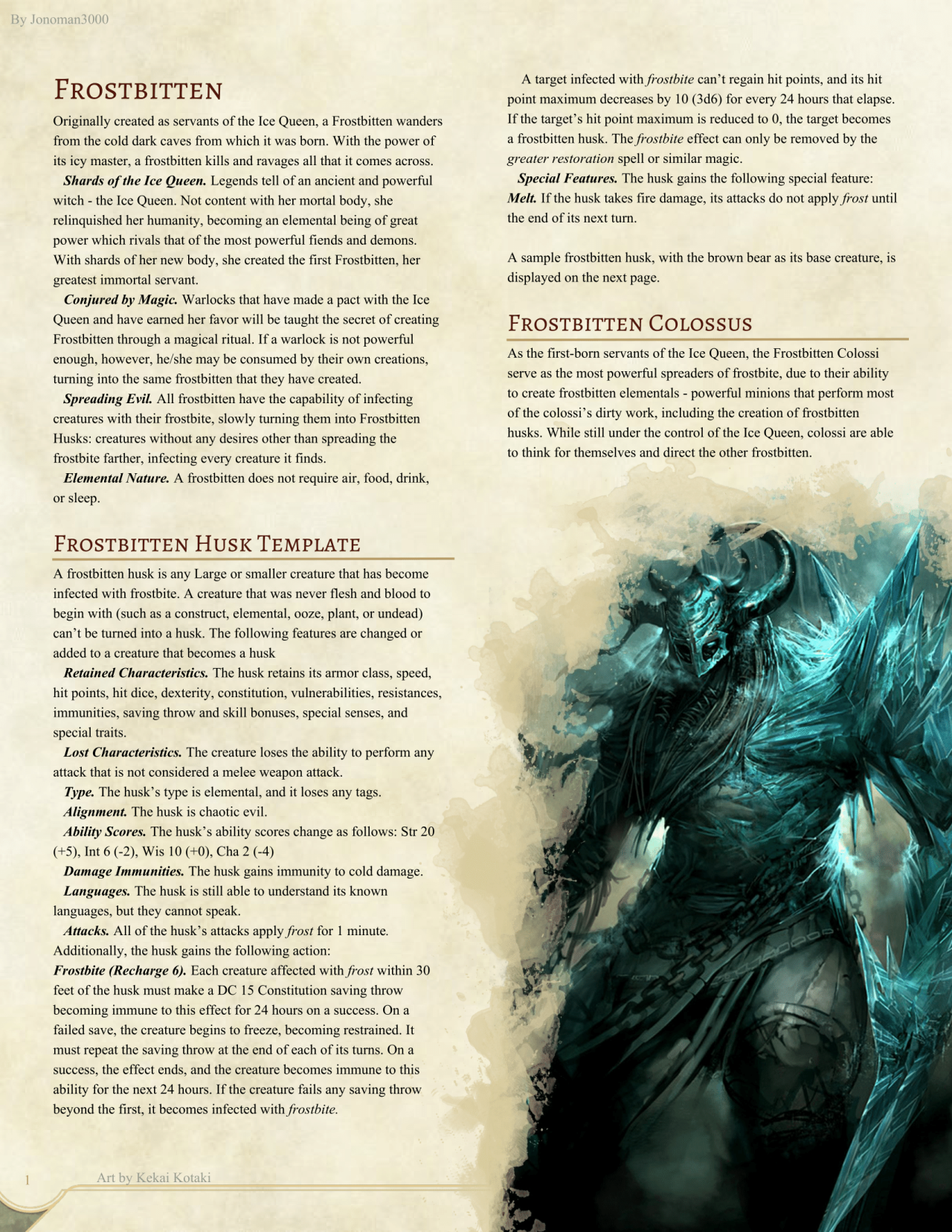 Dnd 5e Homebrew Frostbitten Monsters By Jonoman3000 Rpg In 2019
