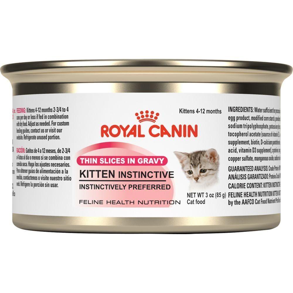 Royal Canin Feline Health Nutrition Kitten Instinctive Thin Slices In Gravy Canned Cat Food 3 Ounces 24 Pack Feline Health Canned Cat Food Wellness Cat Food