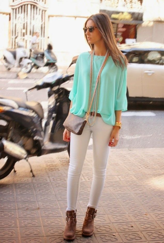 b3f6f90d36 @roressclothes clothing ideas #women fashion Chiffon Blouse Outfit Idea in  Mint