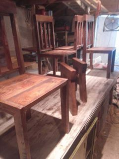 Custom Wood Dark Rustic Dining Table Chairs