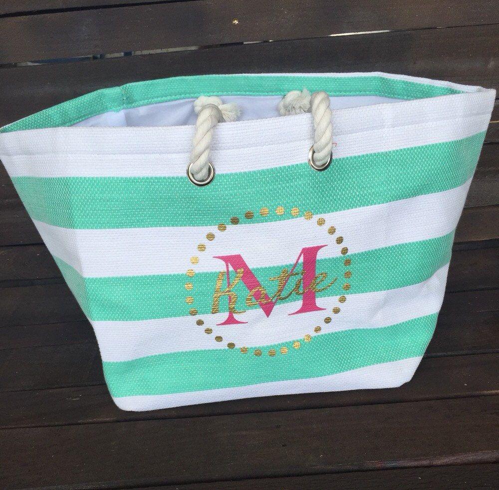 Monogramed Canvas Beach Bag by KandJMade on Etsy