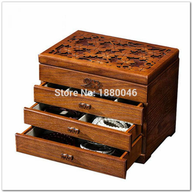 New Items Large Wooden Jewelry Box Jewelry Necklace Earrings High End European Retro Princess Box Makeup Or Wooden Jewelry Boxes Makeup Organization Makeup Box