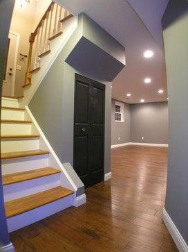 Basment Love The Hardwood Floors And The Staircase Very