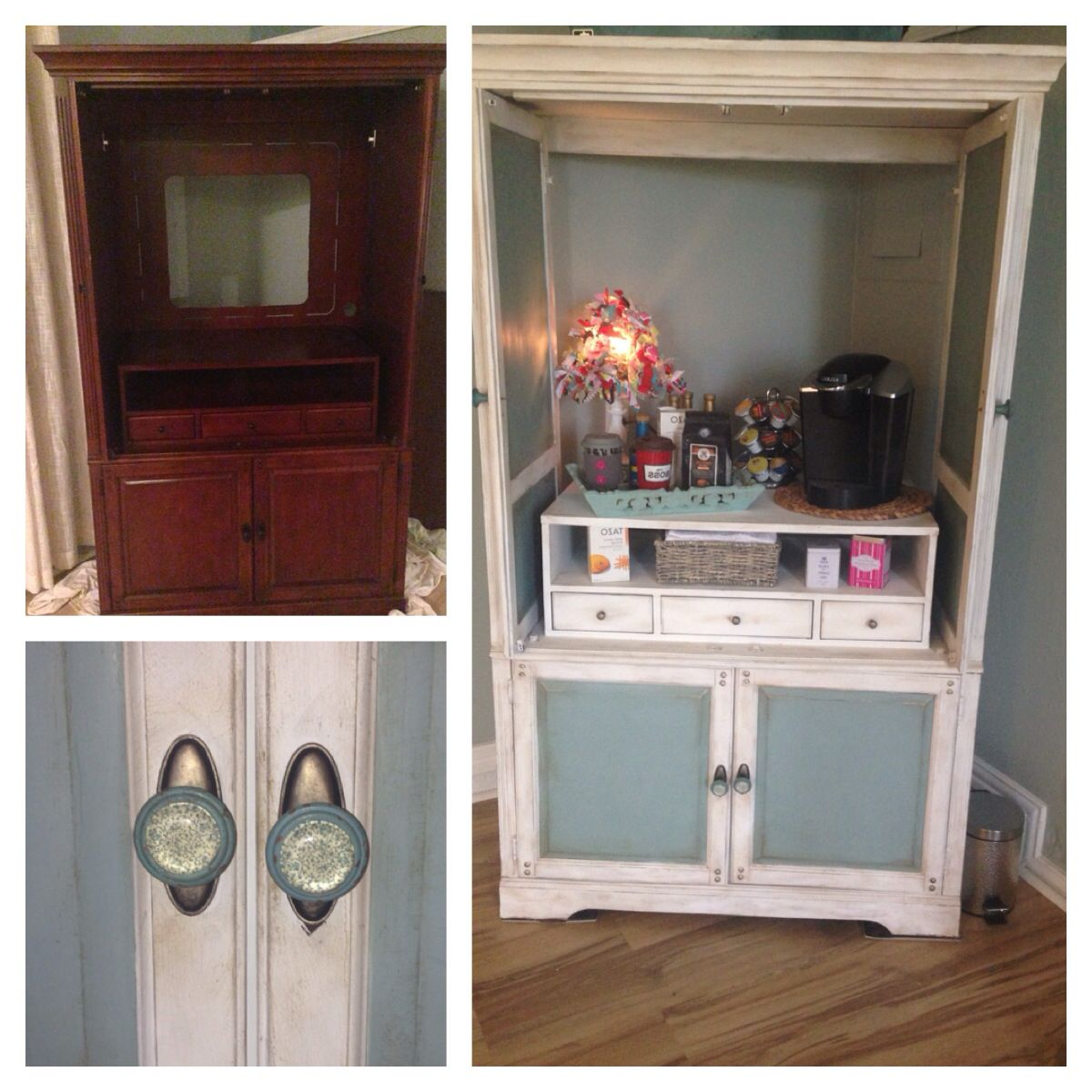 Turn An Old Tv Armoire Into A Home Coffee Bar