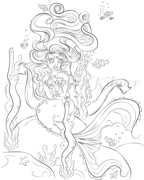 mermaid coloring page adult coloring page by enchantedezignstudio - Mermaid Coloring Pages For Adults