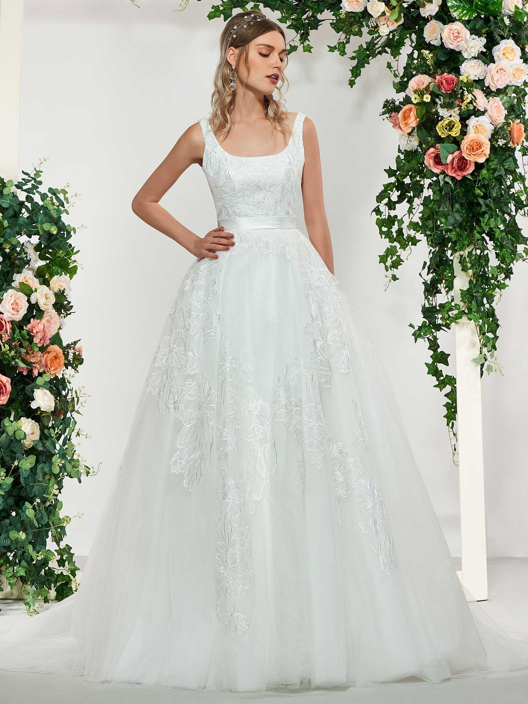 Ball Gown Square Neck Lace Wedding Dress tbdressreviews