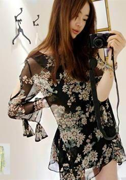 4980ee8af7 Summer Fashion Korean Bohemian Floral Chiffon Dress   style ...