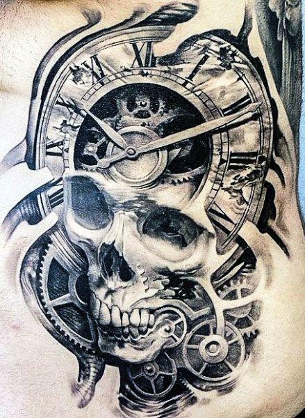 tatuaże 3d czaszka i zegar | tattoo | pinterest | tatouage, tatouage