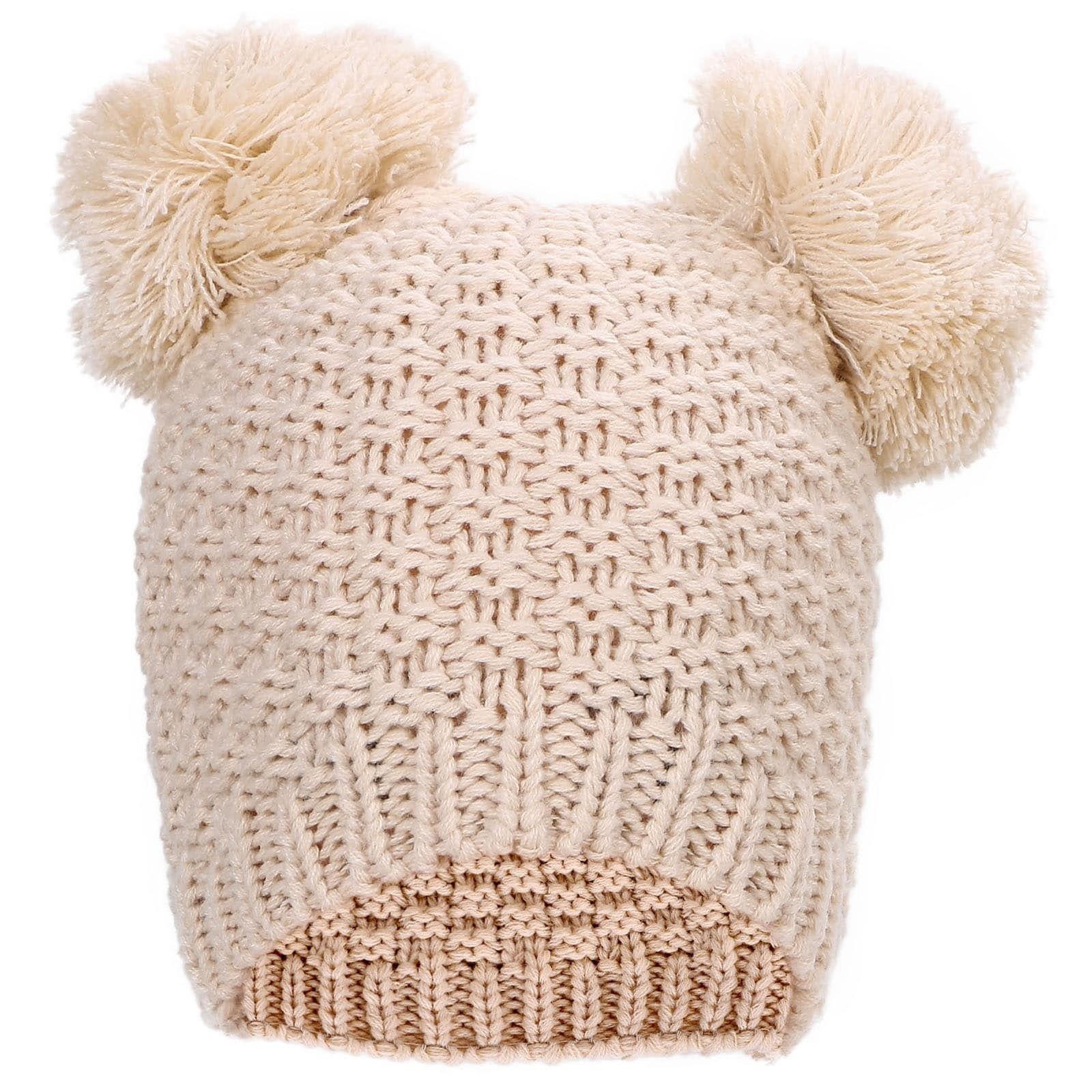 dc83b8fe3 Simplicity Women's Cute Knit Fuzzy Pompom Winter Beanie Hat (Beige ...