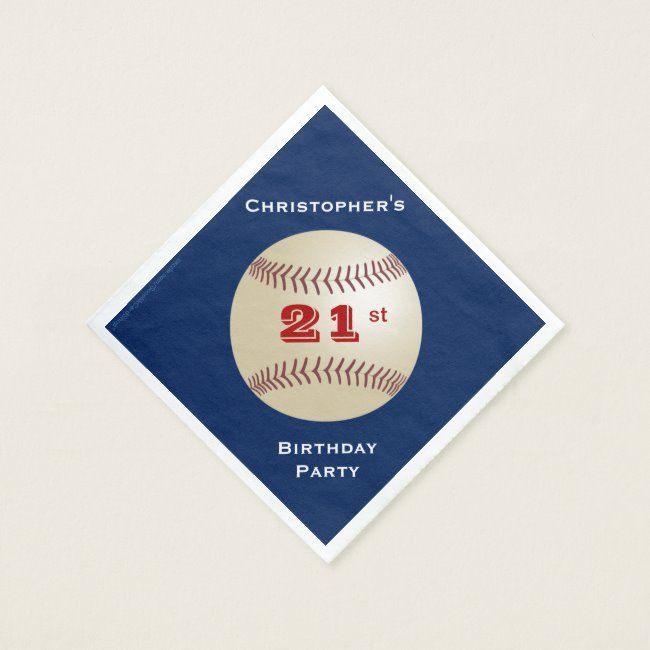 Baseball Paper Napkins, 21st Birthday Party Napkin | Zazzle.com #papernapkins