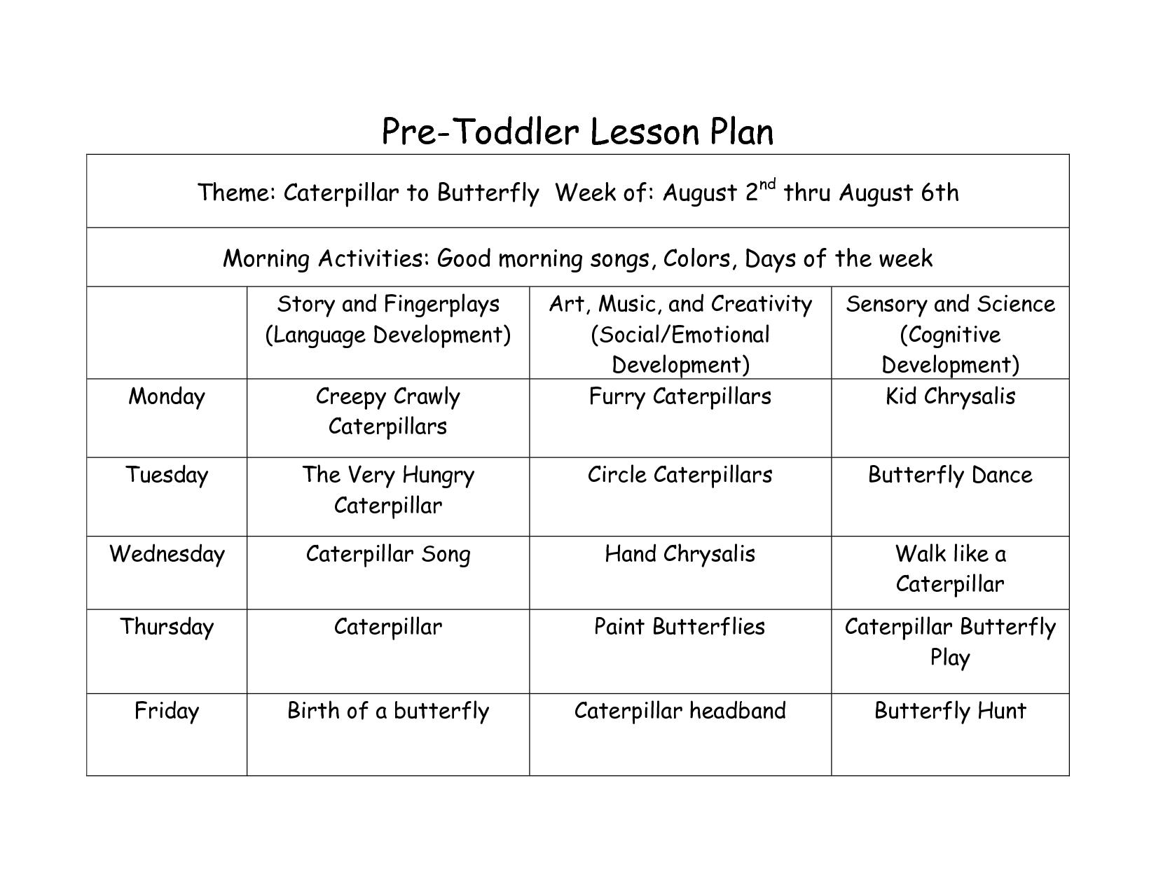 Toddler Curriculum Lesson Plans