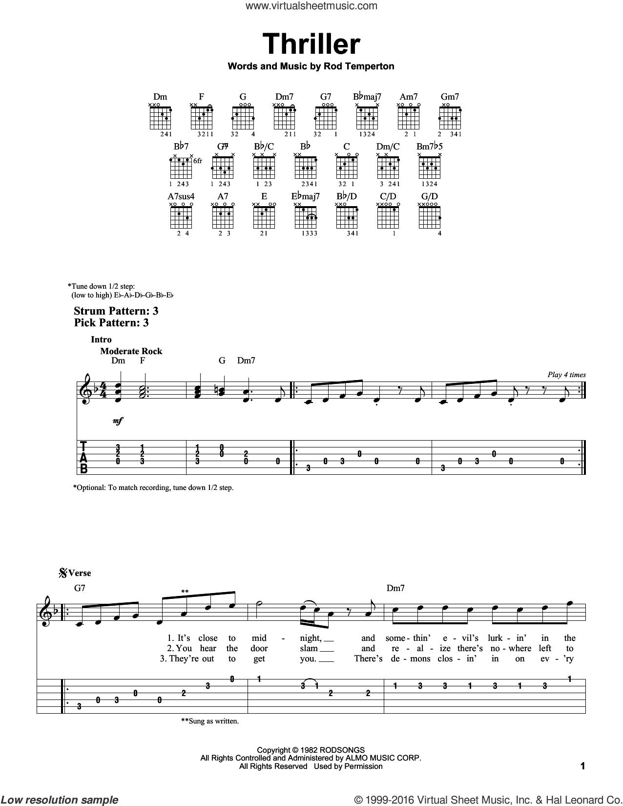 Michael Jackson Thriller Sheet Music For Guitar Solo Easy