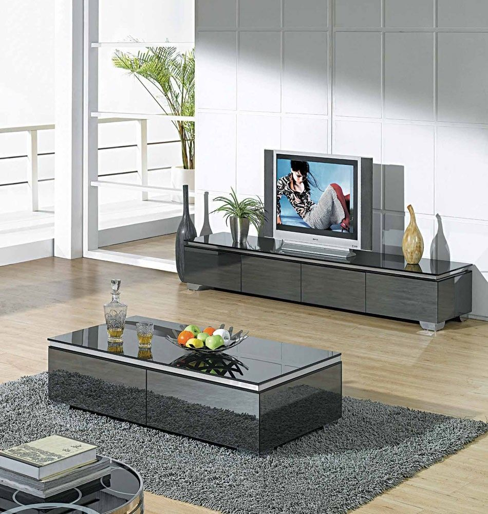 wooden tv stand and coffee table set