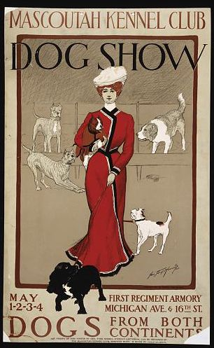 Chicago 1901 Vintage Dog Show Poster   Mascoutah Kennel Club    Pet Poster
