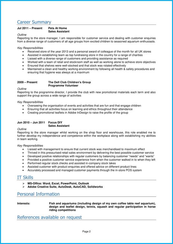 Graduate CV example page 2 Cv template, Curriculum vitae