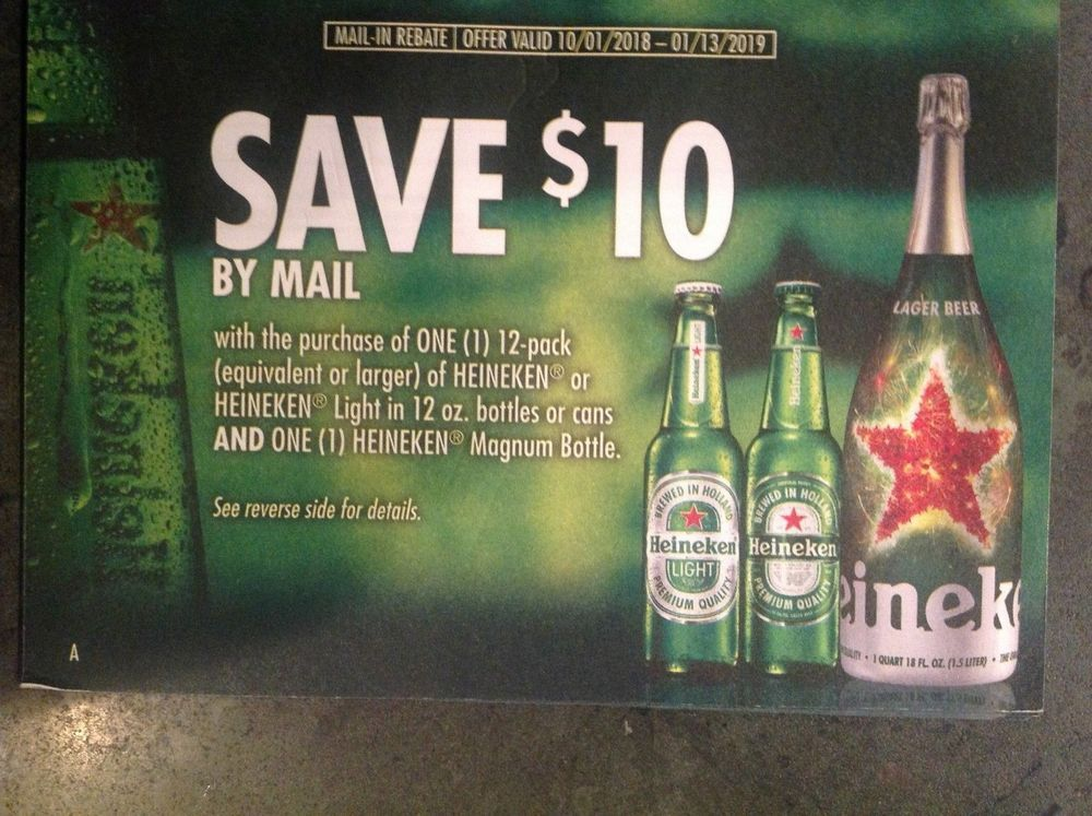 10 Heineken Beer Rebate 1 13 2019 Ct Me Ma Nh Nj Ny Pa Ri Vt Heineken Beer Beer Magnum Bottle