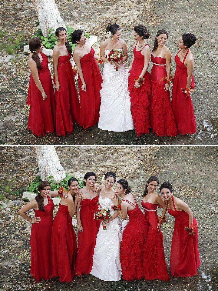 Wedding photography bridesmaids weddin dress, Hacienda Teya Yucatán, México by Enrique Osorno