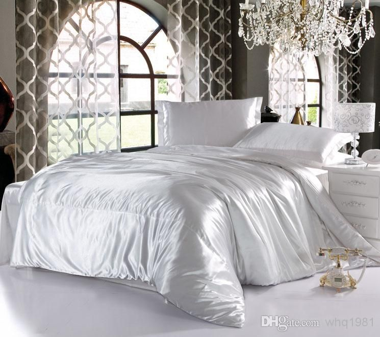 White Satin Duvet Cover Solid Color 4 Imitation Silk Bedding Set Bed Linen Bedclothes Flat Sheet Pillowcases Home Textile Queen King From Whq1981 79 60 Dhga White Bed Set Bedding Sets Cheap Bedding Sets